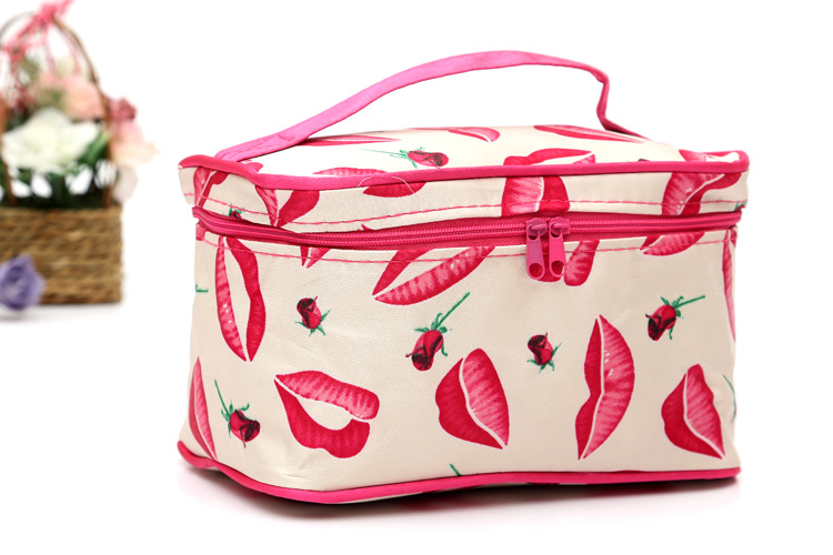 Fashion Travel Multi Functional Women Make Up Lip Stripes Printing Cosmetic Bag Square toiletry Makeup Bag Organiser Neceser