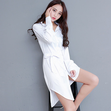 2019 New Sexy Women White Shirts Long Solid Loose Plus size XXL Office Lady Blouses Club Fashion Female Tops