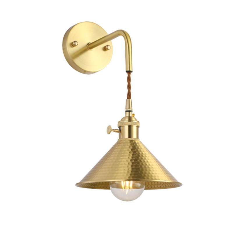 Nordic brass cone sconce, American minimalist bedside restaurant bar, entrance window, cloakroom, retro industrial wall lamp american rural retro wall lamp nordic industrial loft sconce creative restaurant bar aisle bedside lamp outdoor wall light e27