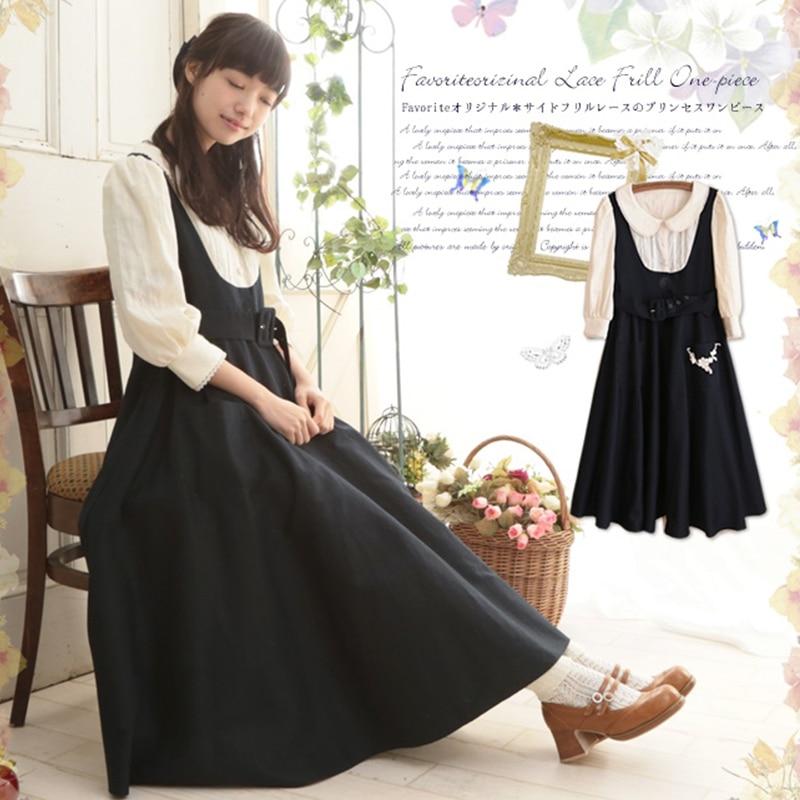 Printemps Mori fille faux deux pièces robe douce femmes Lolita col claudine ceinture dentelle fleur Appliques femme Kawaii robe A149