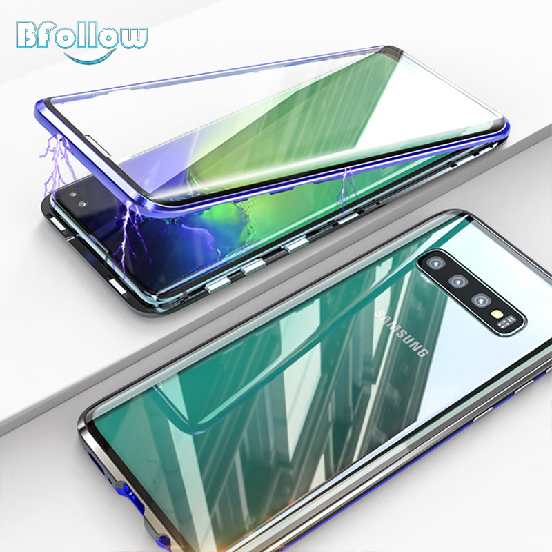BFOLLOW 360 Front & Back Glass Case for Samsung Galaxy S10 Plus 5G / S10 Edge Magnetic Full Body Aluminum Curved Cover MetalBFOLLOW 360 Front & Back Glass Case for Samsung Galaxy S10 Plus 5G / S10 Edge Magnetic Full Body Aluminum Curved Cover Metal