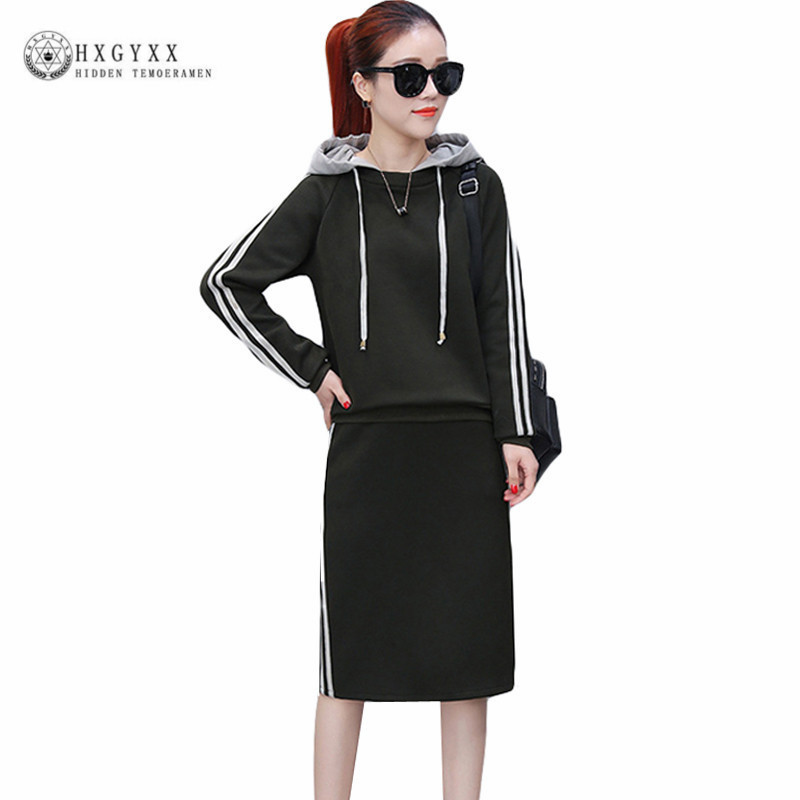 2018 Autumn 2 Piece Set Women Tracksuit Sportswear Casual Sweat Skirt Suits Hooded Sweatshirt Hoodie Fitness Clothing okd084