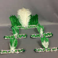 hot selling free shipping feathers head & arm & leg piece for samba dress carnival dress 5 pcs/set 7 color