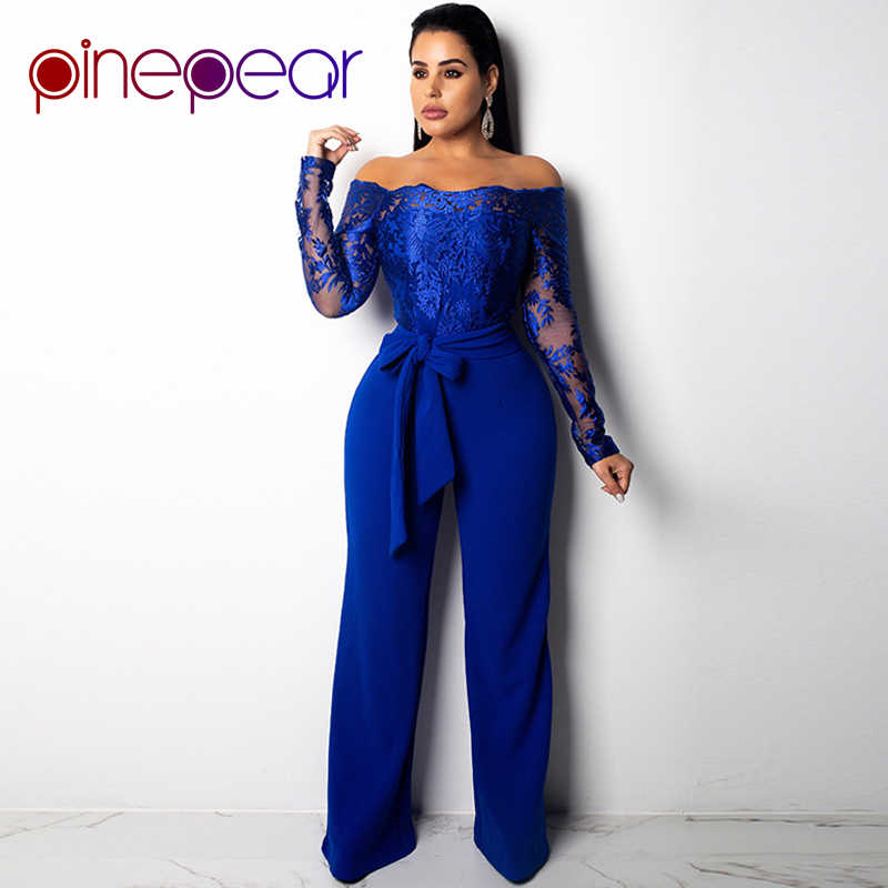 16d1d867a6ec PinePear New 2019 Royal Blub Elegant Off Shoulder Floral Embroidery Lace Jumpsuit  Women Sheer Long Sleeve