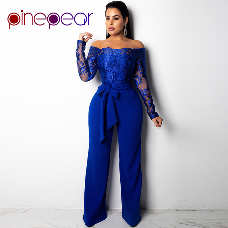 3560c37298f PinePear New 2019 Royal Blub Elegant Off Shoulder Floral Embroidery Lace  Jumpsuit Women Sheer Long Sleeve Wide Leg Pants Romper