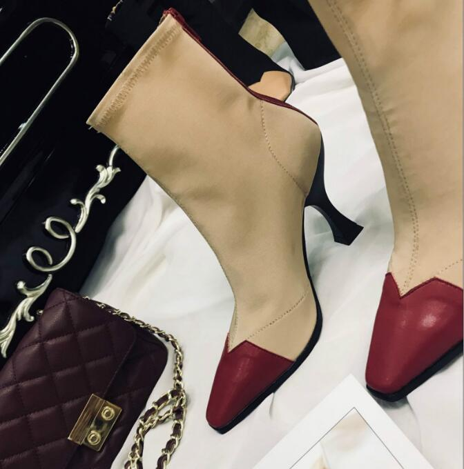 Xgravity 2018 Hot Summer Lady High Heel Boots Elegant Comfortable Sexy Woman Fashion Breathable Shoes Square Toe Footwear C100