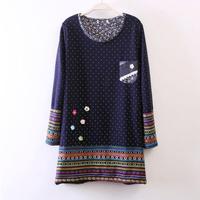 2017 New Autumn Winter Vintage Loose Sweatshirt Women Fashion Polka Dot Print Long Hoodie Dress Fleece