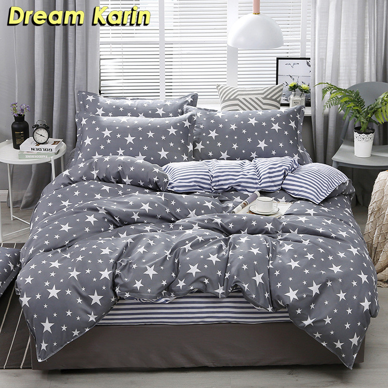 Nordic Brief Duvet Cover Sets Bedding Set With Pillowcase Plaid Star Print Bed Linens Single Double Queen King Bedclothes 2/3pcs