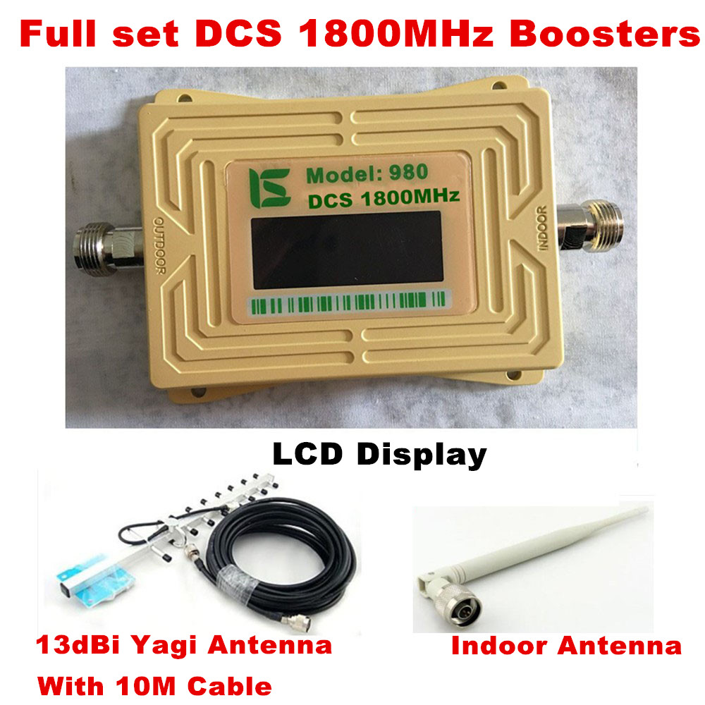 DCS LTE 1800 LCD 70dB Gain 2g 4g Cell Phone Signal Repeater DCS 1800MHz Mobile Amplifier GSM Signal Booster With Antenna Set