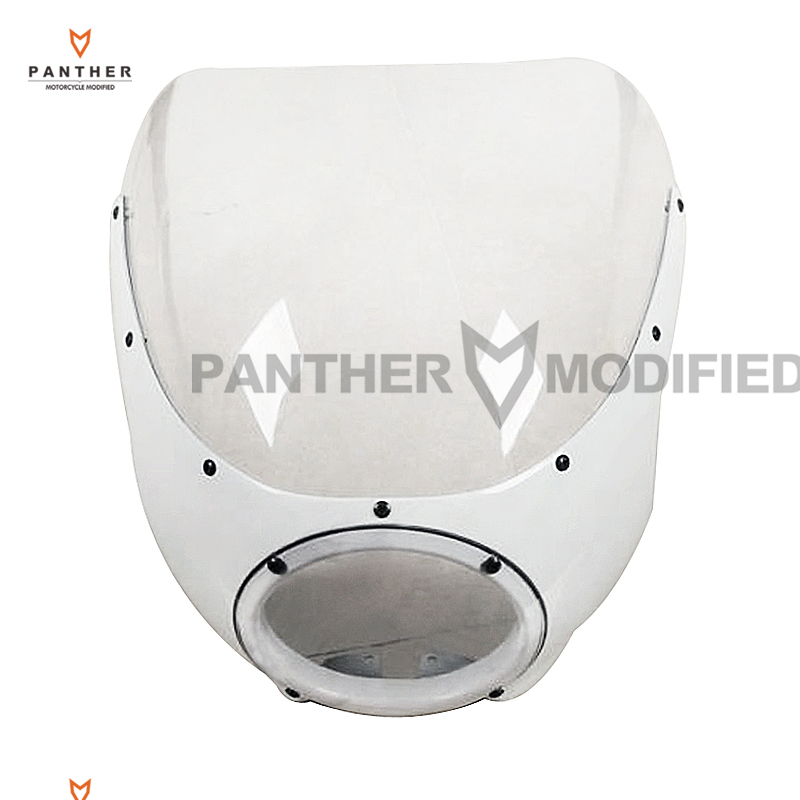 купить 1 Pcs Motorcycle White Cafe Racer Headlight Fairing Windscreen Moto Front Windshield case for Harley Sportster XL 883 Dyna по цене 6441.4 рублей