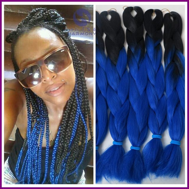 Free Shipping 10packs 24 100g Diamond Blue Ombre Synthetic Braiding