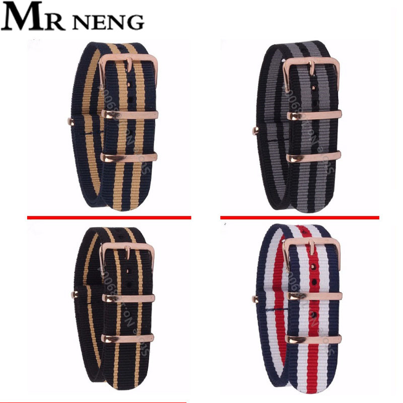 MR NENG Brand 18mm 20mm 22MM Watchband High Quality NATO Nylon Wach Band Rose Gold Buckle Zulu Watch Strap 4 Color Available