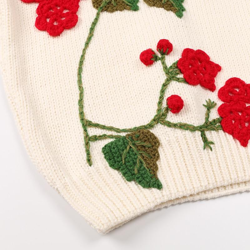 À Pulls Marque Longues Noël Vintage Tricoté cou Automne Chandail Noir O Floral Femmes De Européenne blanc Manches Hiver Lâche wExAzSPqPY