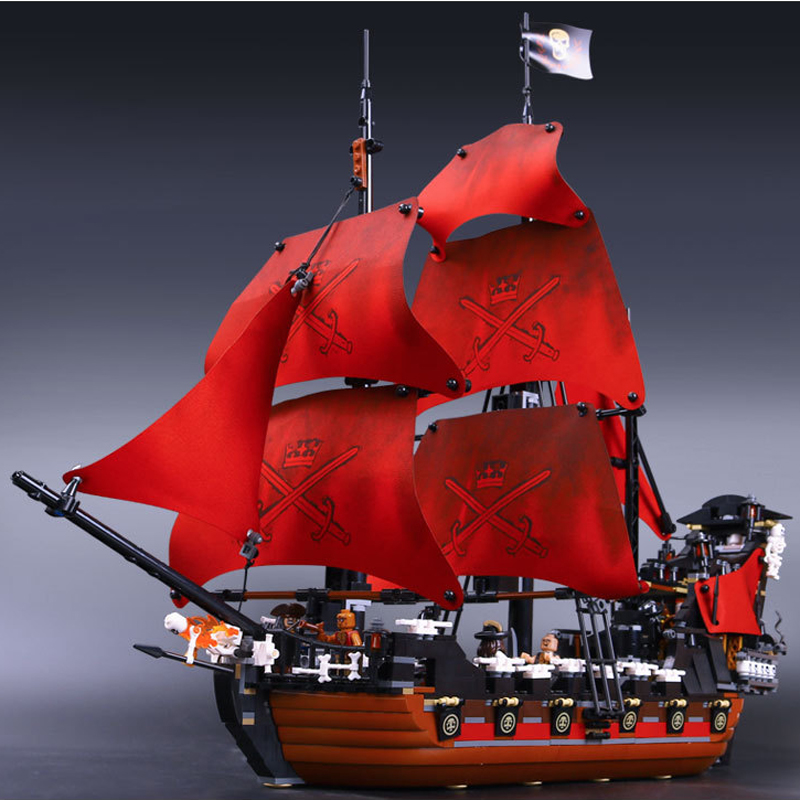 LEPIN 16009 1151pcs Queen Anne's Revenge Pirate of the Caribbean Building Blocks Set Bricks 4195 Creative Toys For Children Gift lepin 22001 imperial warships 16009 queen anne s revenge model building blocks for children pirates toys clone 10210 4195