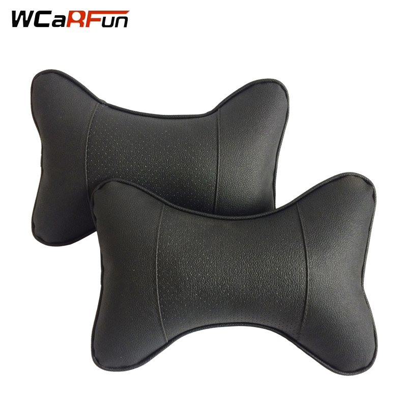 WCaRFun 2pcs Car Neck Pillows Neck Headrest Breathable Vehicular Pillows PU Leather Seat Neck Pillows Car-styling Accessories