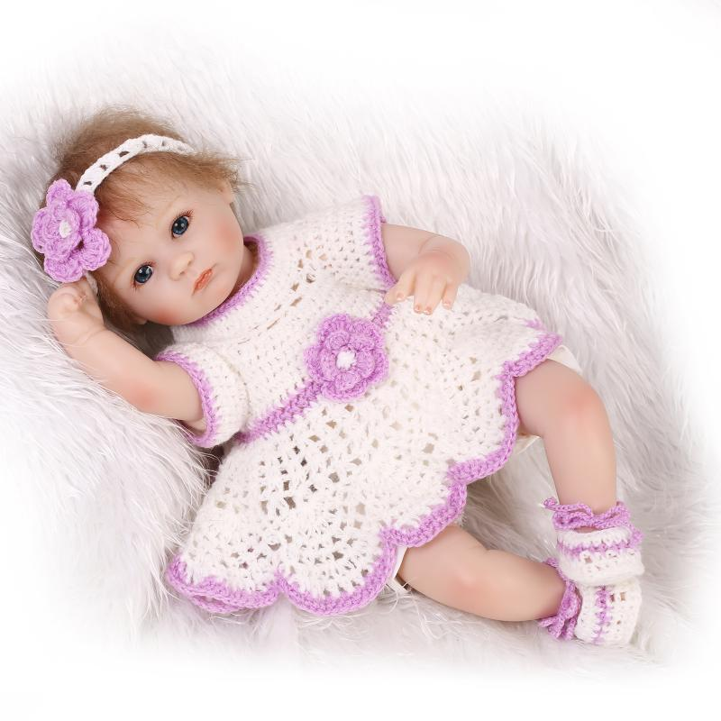 Slicone reborn baby doll toy for girls play house bedtime toys for kid brinquedos lovely newborn girl babies collectable doll pp bedtime for baby dwf acct