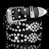 Pin Buckle Rhinestone Studded Leather Belt Women Crystal Cowskin Belts Genuine Real Leather Skin Straps Female