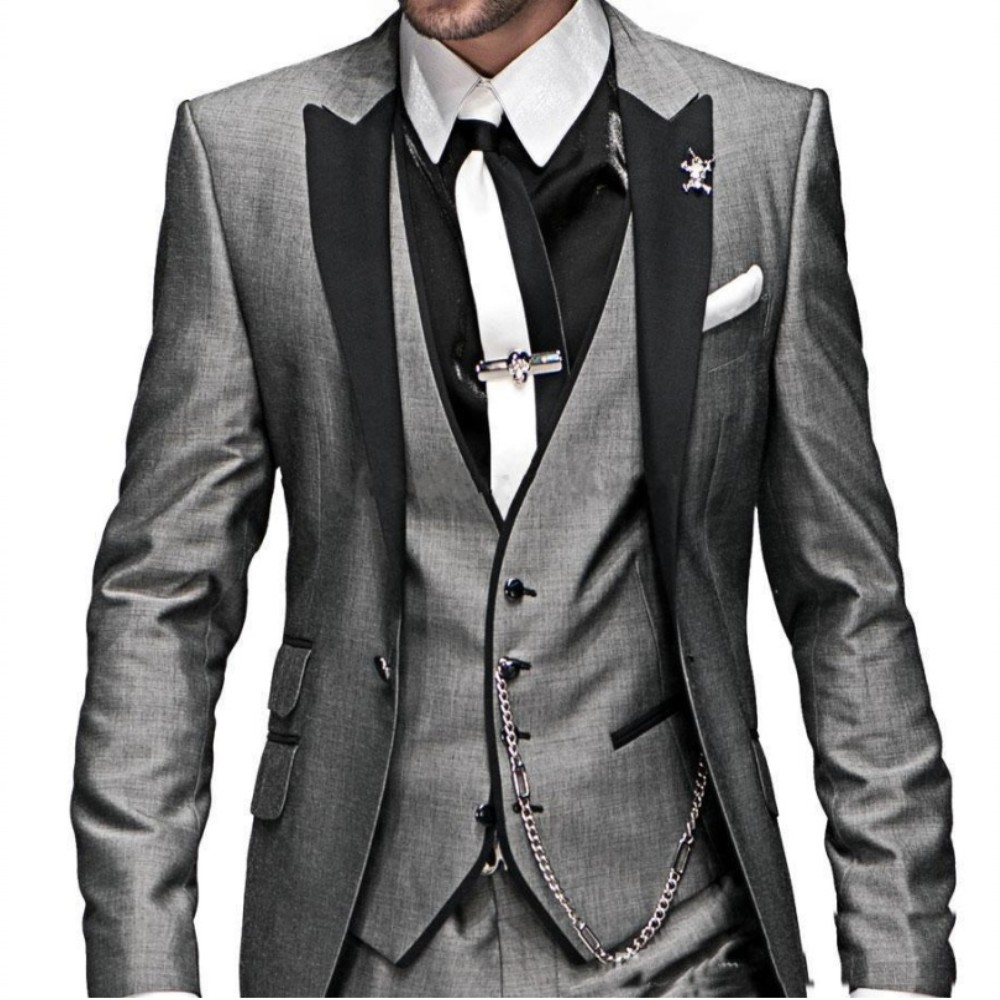 Online Buy Wholesale grey suit silver tie from China grey suit