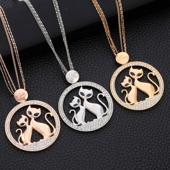 CZ Love Couple Cats Link Chain Pendant Necklace Women Alloy SilverGoldRose Gold Ladies Pendant Necklace Crystal Jewelry