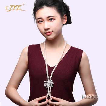 JYX 2019 Exquisite zircon Bowknot Pearl Necklace Graceful 8-8.5mm White Freshwater Pearl Long Necklace with Tassel Valentines