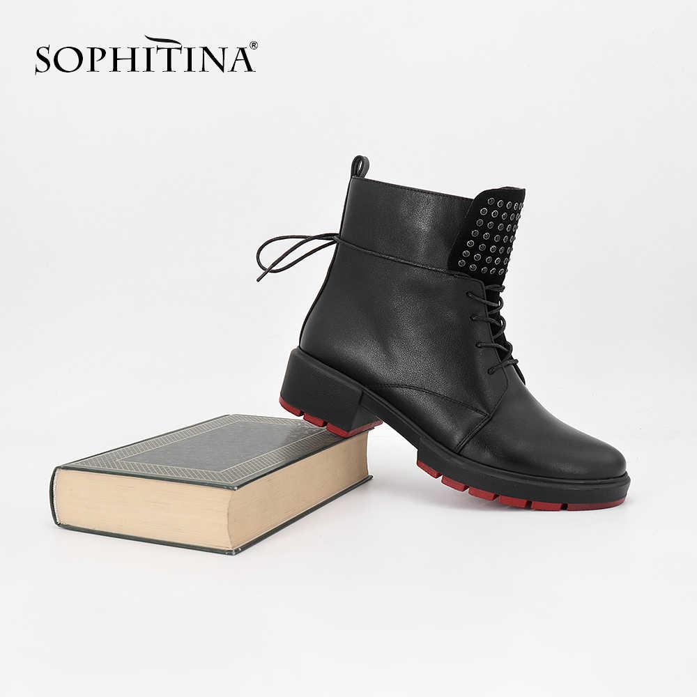 SOPHITINA el yapımı kadın botları açık kare topuklar yuvarlak ayak inek deri bayan ayakkabıları moda kristal fermuar kaliteli botlar SC90