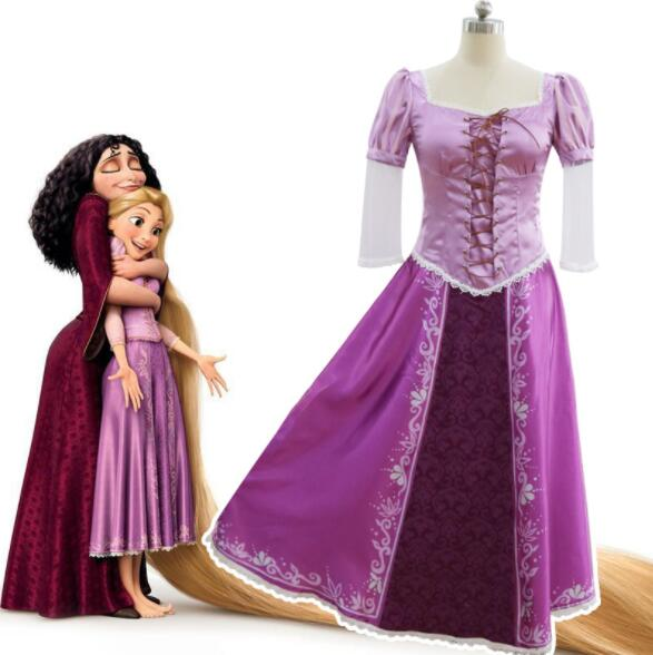 Film Costume Tangled Rapunzel Adult Cosplay Party Fancy Dress Costume Prom Gown  Princess Dress