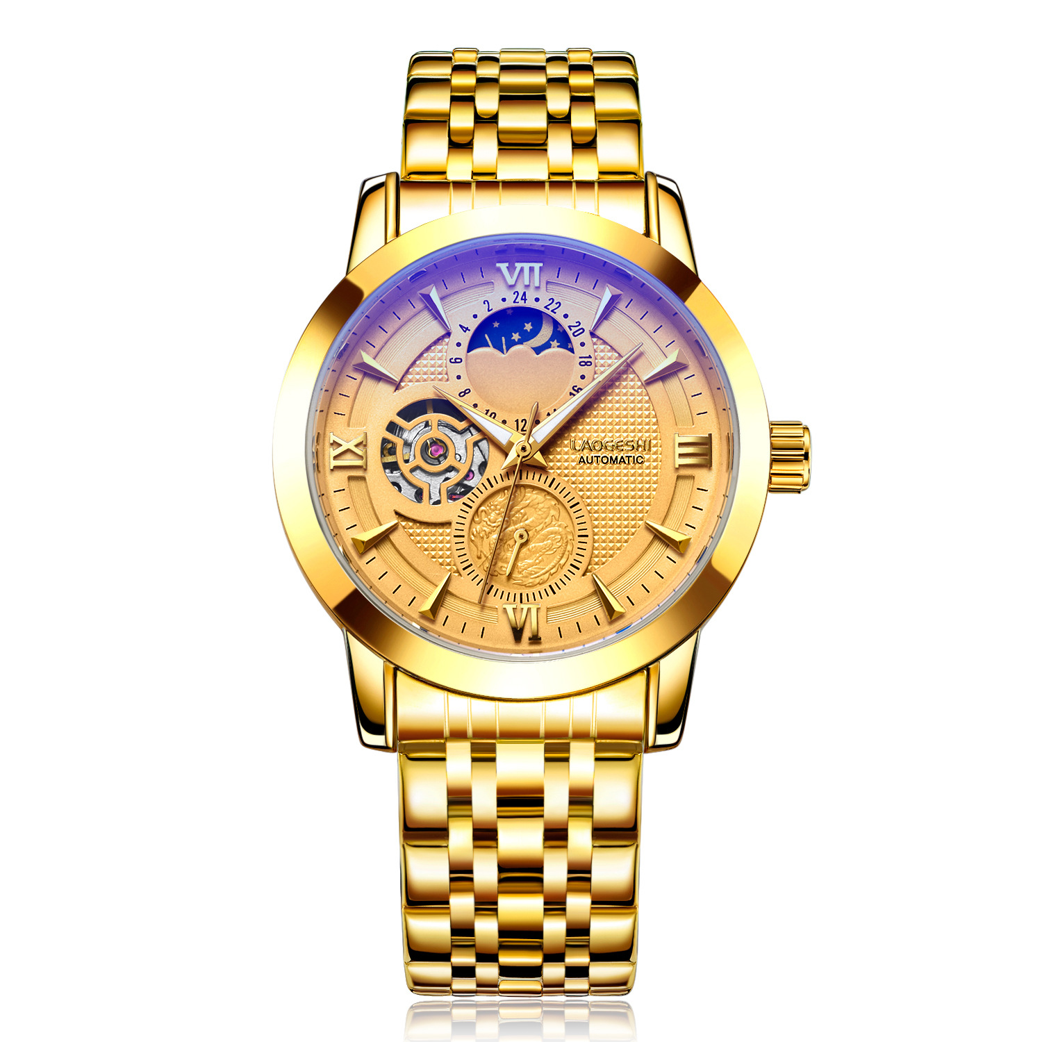 Luxury Brand Male Automatic Mechanical Wristwatch Tourbillon Mens Watches Stainless Steel Band Business Watch Relojes Hombre men gold watches automatic mechanical watch male luminous wristwatch stainless steel band luxury brand sports design watches
