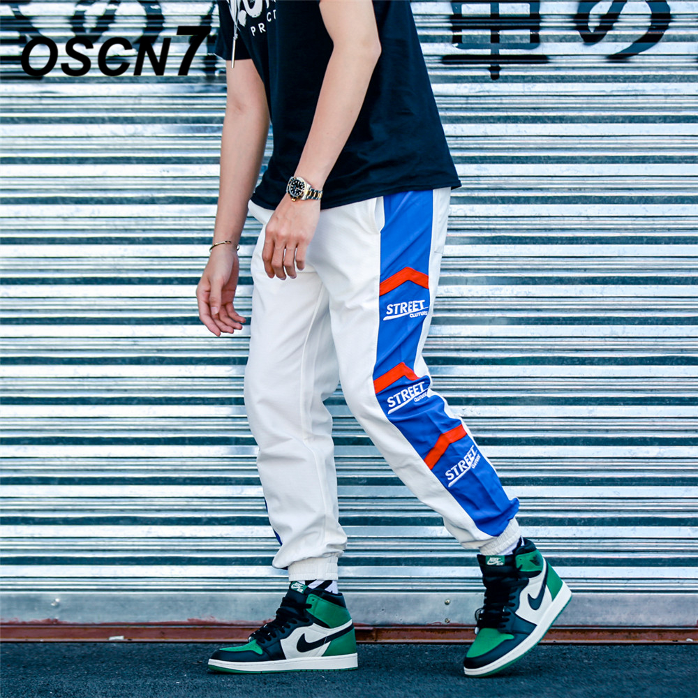 Amicable Oscn7 Loose Stripe Leisure Sweatpants Men 2019 Fashion Streetwear Casual High Street Patchwork Mens Pants Trousers K176 Curing Cough And Facilitating Expectoration And Relieving Hoarseness