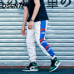 OSCN7 свободные полосы для отдыха пот Штаны Для мужчин 2019 уличной моды обычная, высокая, на выход в стиле пэчворк брюки мужские K176