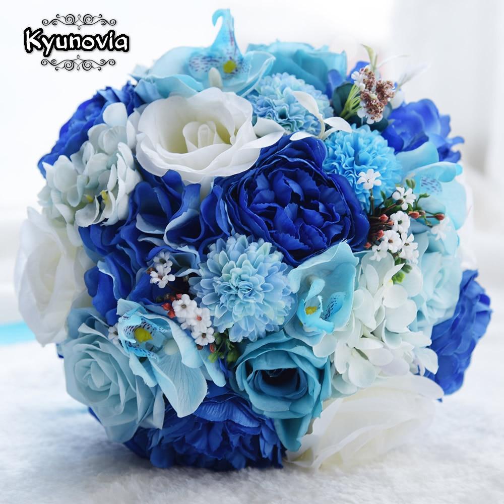 Kyunovia Mint Blue Wedding Bouquet Konstgjord Siden Bride Bouquet - Bröllopstillbehör - Foto 6
