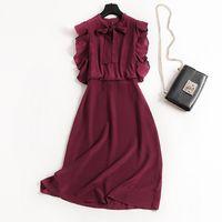 Новый летний вне 100% шелковое платье, высокого качества красное вино Урожай шелк платье без рукавов. Элегантный, классический дизайн, YM0034