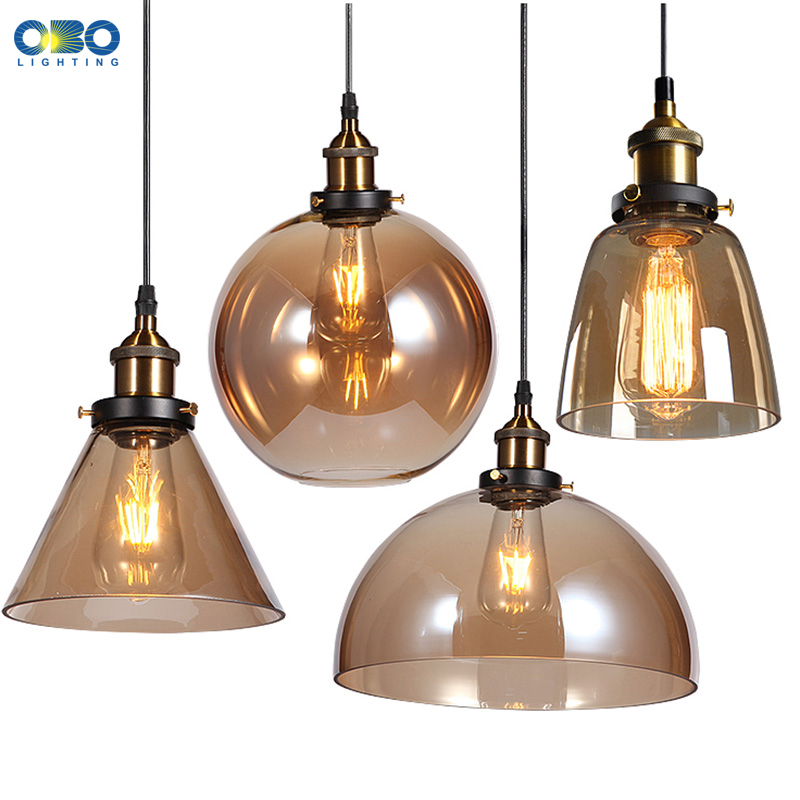 Vintage Clear/Tea Color Glass Shade Pendant Lamp Cord 1-1.5m Wire Modern Dining Room Foyer Pendant Light E27 110*240V