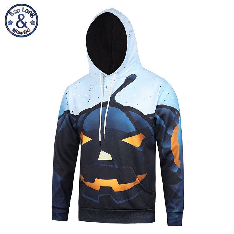 2017 Dark Pumpkin Light 3D Print Hoodies Funny Pullovers Casual Loose Streetwear Long Sleeve Outerwear Hip Hop Sudaderas Hombre