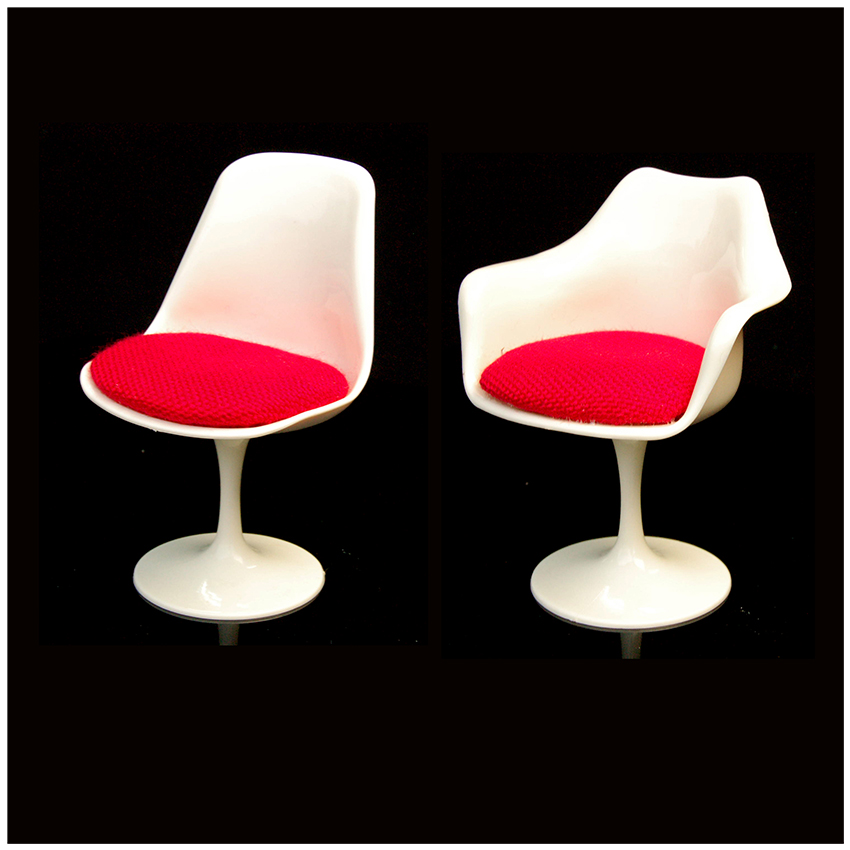 White Plastic Chair Dinning Room 1/6 Scale Furniture