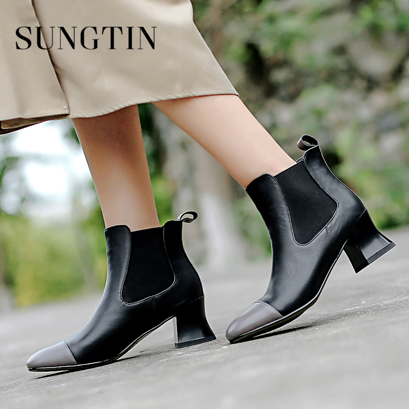 Sungtin Autumn Winter New Genuine Leather Chelsea Boots High Heel Plus Size Women Ankle Boots Ladies Casual Warm Short Boots цена 2017