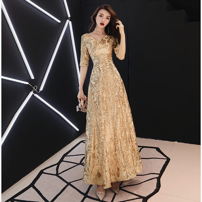 2019 Gold Wine Red Evening Dresses Long Elegant V-neck A-line Floor-Length Sequined Formal Evening Gown LF154