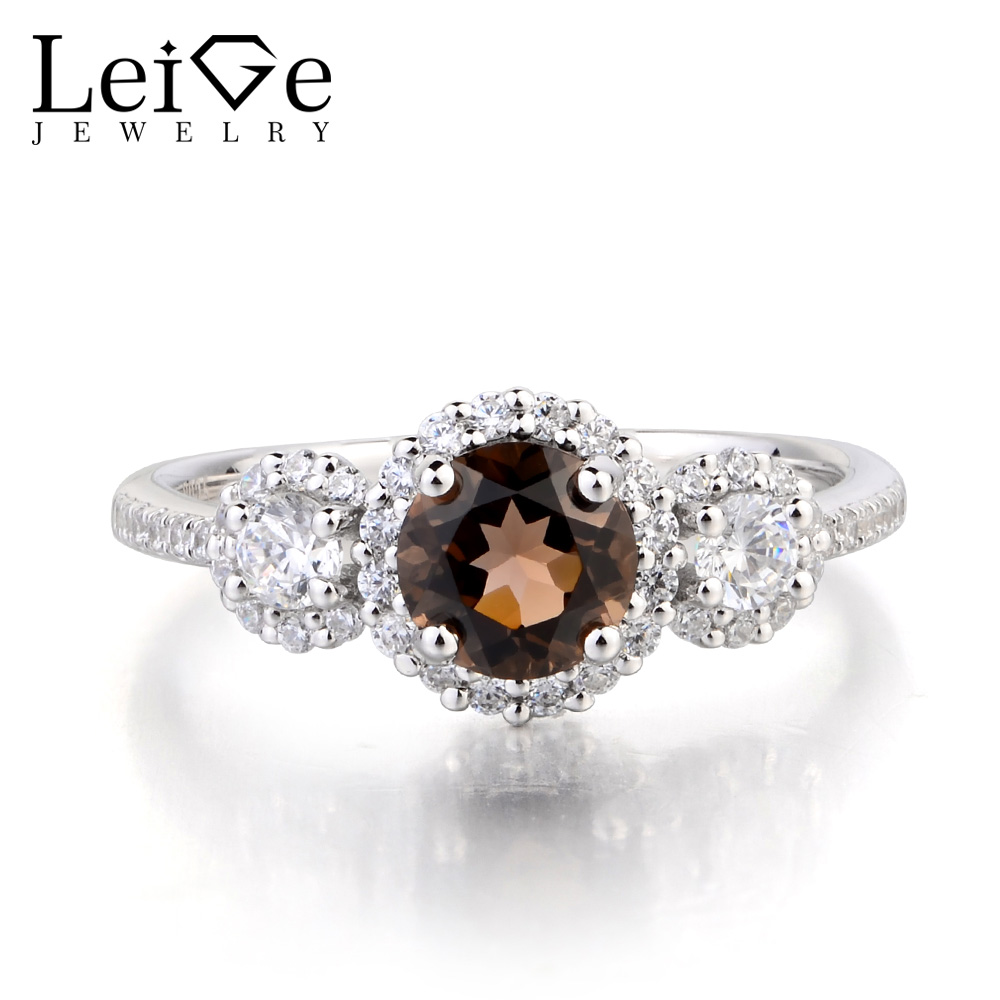 купить Leige Jewelry Cocktail Party Ring Natural Smoky Quartz Ring Round Cut Brown Gemstone 925 Sterling Silver Ring Gifts for Women по цене 6120.7 рублей