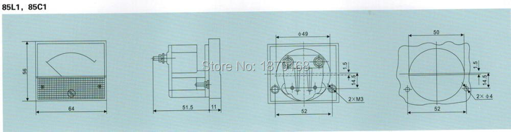 85L1-A Medidor de CA 0-5mA rect/ángulo anal/ógico Panel amper/ímetro
