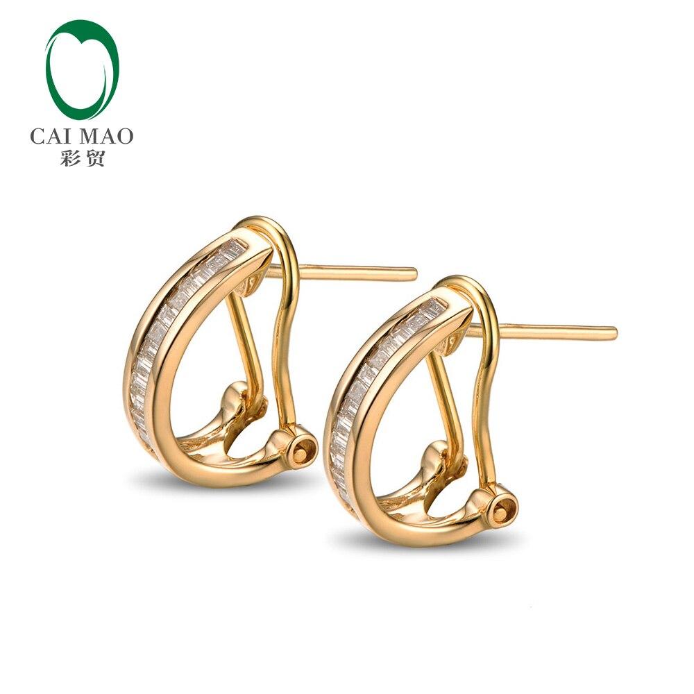 Caimao ювелирные изделия Красивая 14 К Желтое золото и 0.31ct Diamond Обручение серьги