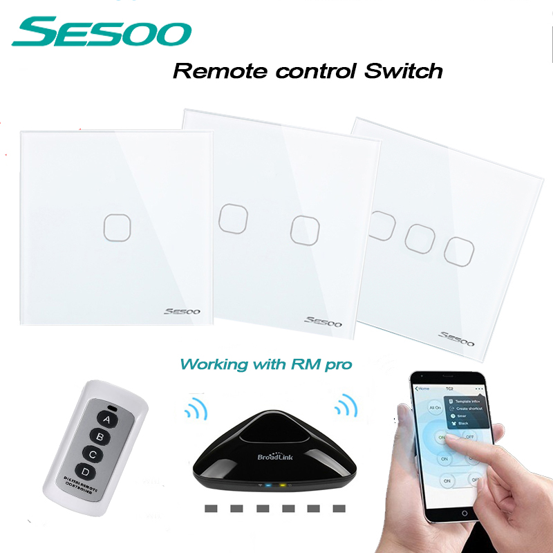 SESOO EU/UK Standard 1/2/3 Gang Wireless Remote Control Wall Light Switch, White Crystal Glass Panel Touch Switch for Smart Home new eu uk standard sesoo remote control switch 2 gang 1 way crystal glass switch panel remote wall touch switch for smart home