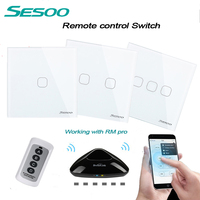 SESOO EU UK Standard Luxury Black Crystal Glass Wall Switch Touch Switch Normal 1 Gang 1