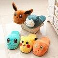 Novo Pokemon Kabi Besta Pikachu de pelúcia em casa chinelos de algodão interior vanled chinelos em casa inverno quente das mulheres