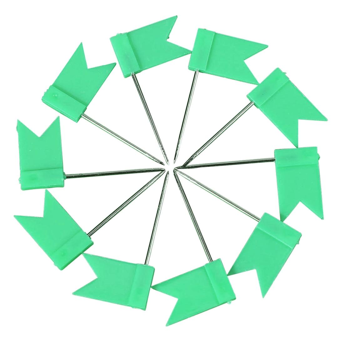 100 Flag Shape Map Pins Cork Notice Board Drawing Pins Push Pin Green