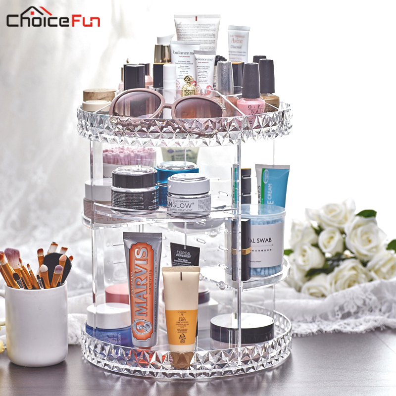 Valgfrit Roterende Clear Make Up Makeup Holder Organizador De Maquillaje Akryl Badeværelse Badeværelse Makeup Organizer For Kosmetik