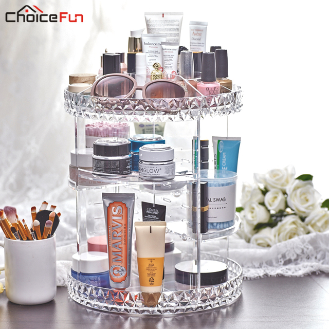 CHOICE FUN Rotating Clear Make Up Makeup Holder Organizador De Maquillaje  Acrylic Bath Bathroom Makeup Organizer