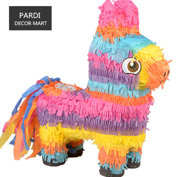 Small Rainbow Donkey Pinata kids birthday party beating props party supplies image