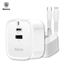 Baseus PD Quick Charge 30W USB Charger Set For iphone X 8 USB Type-C UK Plug Fast Charging Charger Set 2A PD Fast Charging Cable fast set