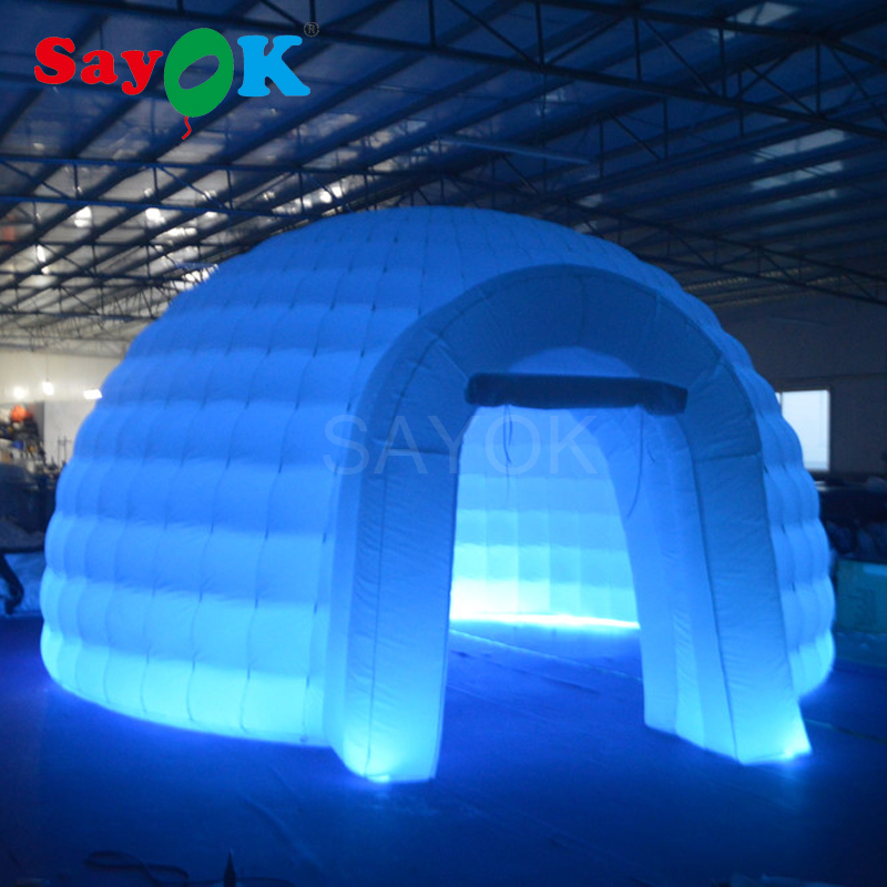 Portable White Inflatable Dome Tent With Color Changing