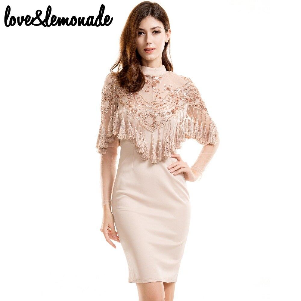 Lovelemonade Lace Sequined Tassels Party Dress Nude Tb -2611
