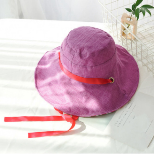 a2774fe9 Wide Brim Reversible Bucket Hat With String Cotton Two Side Striped Fishing  Cap For Women Foldable Large Brim Summer Sun Hat